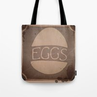 eggs Tote Bags featuring Eggs by brit eddy