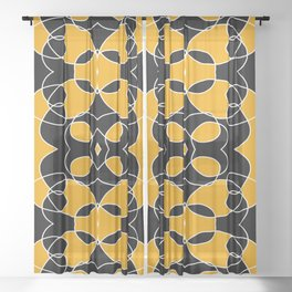 Dichromatic Black and Yellow Pattern Bat Sheer Curtain