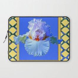 BLUISH-WHITE PASTEL IRIS FLOWER BOTANICAL ART Laptop Sleeve