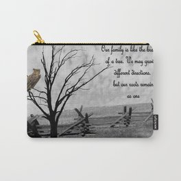 Great Horned Owl with Family Quote A570 Carry-All Pouch