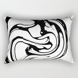 Black, White and Graphic Paint Swirl Pattern Effect Rectangular Pillow