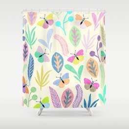 Flower and Butterfly II Shower Curtain