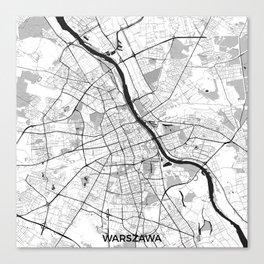 Warsaw Map Gray Canvas Print