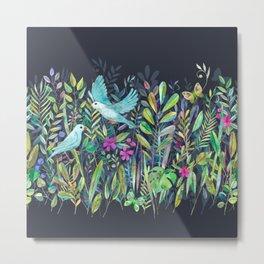 Little Garden Birds in Watercolor Metal Print
