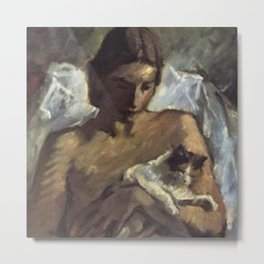 Young Woman with Cat portrait painting by Leo von Konig Metal Print