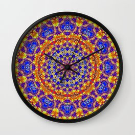 Fourteenth Mandala Of Life For A Rosy Spring Wall Clock