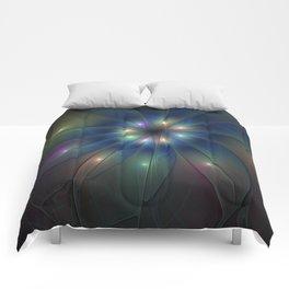 Luminous Fractal Art, Colorful Flower Graphic Comforters