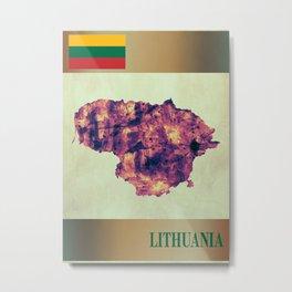 Lithuania Map with Flag Metal Print