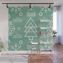 Winter Green Pattern Wall Mural