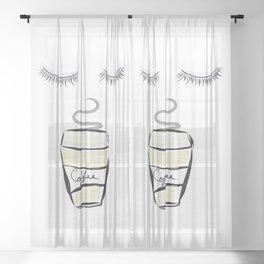 Wake up and Smell the Coffee Sheer Curtain