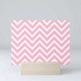 Chevron Stripes : Pink & White Mini Art Print