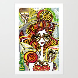 Positive Art and Girls with Owls Art Decor Collection: Rebecca Art Print