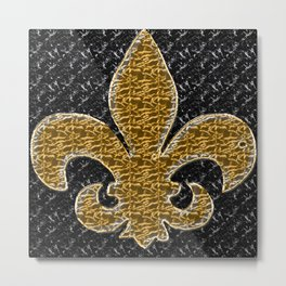 Black and Gold Fleur De Lis Metal Print