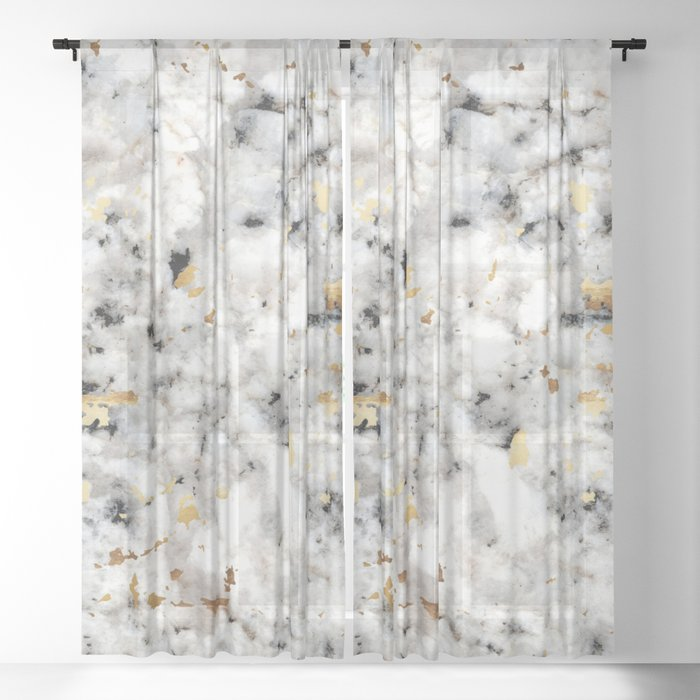 Classic Marble with Gold Specks Sheer Curtain