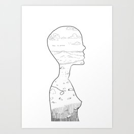 Silhouette Sketch Art Print