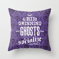 haunted mansion Throw Pillows featuring Haunted Mansion - Grim Grinning Ghosts by tonysimonetta