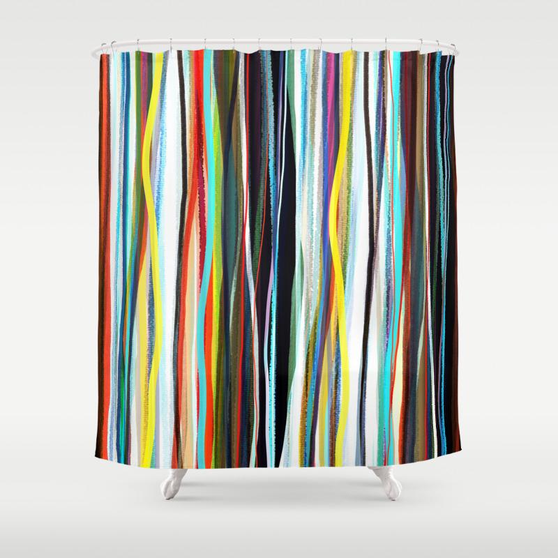 Shower Curtain Hippie Curtains Boho Curtain Gypsy Striped Curtain Rustic Fabric Ribbon Rainbow Tee Shower Curtain