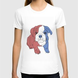 English Bulldog Puppy (red/white/blue) T-shirt