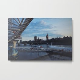 View of Big Ben & River Thames from London Eye Metal Print