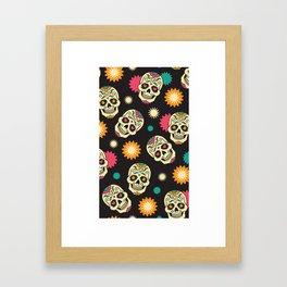 Hipster Skull - Hipster Skeleton - Funky Skull Pattern - Pattern Framed Art Print