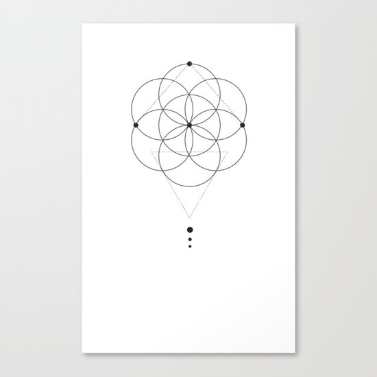 Seed Of Life Geometry White Canvas Print