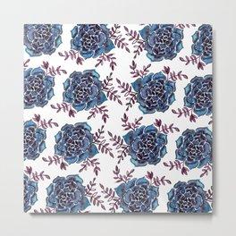 Watercolor houseleek - blue and burgundy Metal Print