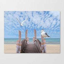 Dock on Beach with Seagulls A340 Canvas Print