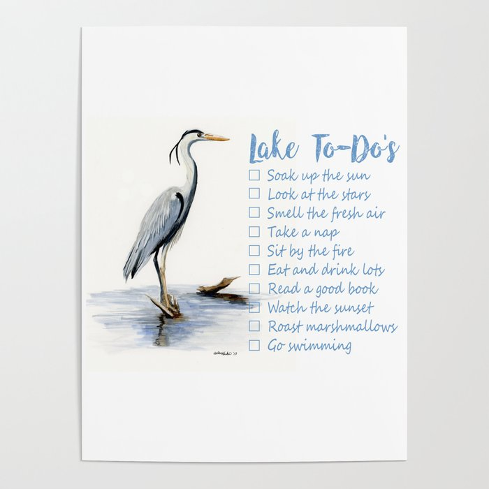 Lake to-do list, cottage sign Poster
