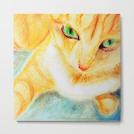 Mango Kitty Metal Print