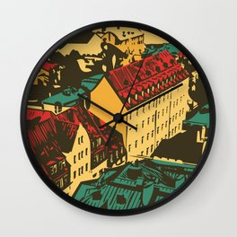 Old roofs of the European city Wall Clock