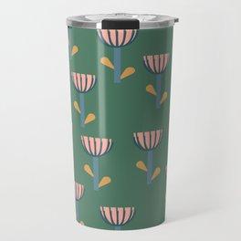 Folksy Floral Pattern in Green Travel Mug