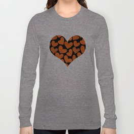 Sketchy hearts in orange and black Long Sleeve T-shirt