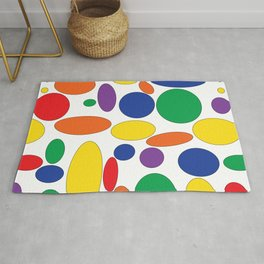 Bright circles and ovals on white Rug