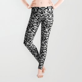 Flourish Damask Big Ptn White on Black Leggings