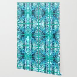 Turquoise Palm Leaves Wallpaper