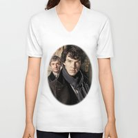 sherlock V-neck T-shirts featuring Sherlock  by SB Art Productions