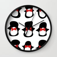 penguins Wall Clocks featuring Penguins by Flash Goat Industries