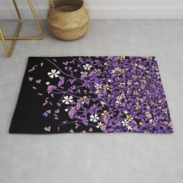 Nonbinary Pride Scattered Falling Flowers and Leaves Rug