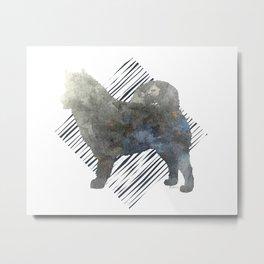 Modern Alaskan Malamute Dog Watercolor Stripes Metal Print