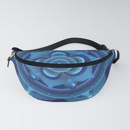 Blue monochromatic mandala dream catcher Fanny Pack