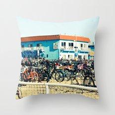 Bicycle Parking Lot Throw Pillow