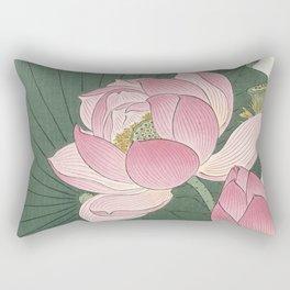 Flowering lotus flowers, Ohara Koson Rectangular Pillow