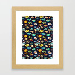 Retro Vintage Comic Book Speech Bubbles Design Framed Art Print