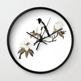 Magpie and Magnolia Wall Clock