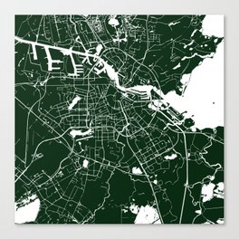 Amsterdam Green on White Street Map Canvas Print