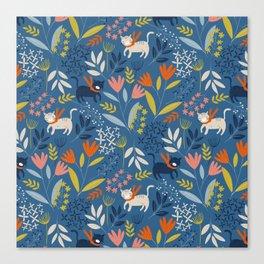 Cats & Flora Canvas Print