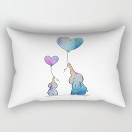 Colorful Watercolor Elephants Love Rectangular Pillow