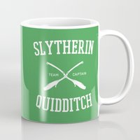 slytherin Mugs featuring Hogwarts Quidditch Team: Slytherin by IA Apparel
