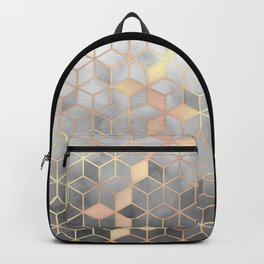 Gold Grey Gradient Cube Art print Backpack