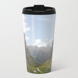 Through the Valley of Mountains Travel Mug